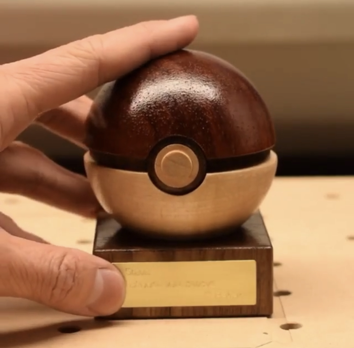 Check out this wooden pokeball